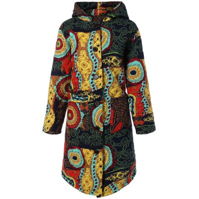 Hooded Ethnic Print Plus Size Coat