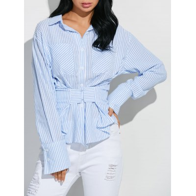 Hook and Eye Button Up Striped Shirt