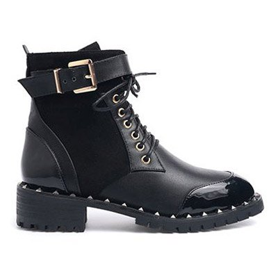 Rivets Tie Up Splicing Ankle Boots