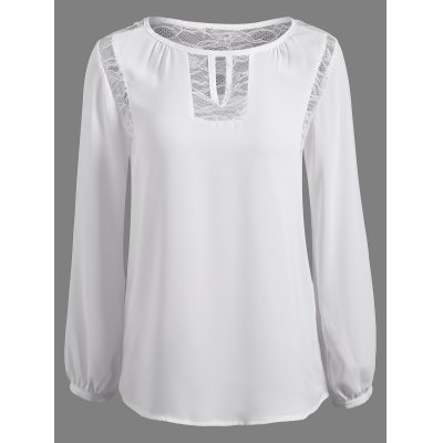 Lace Splicing Puff Sleeve Keyhole Blouse