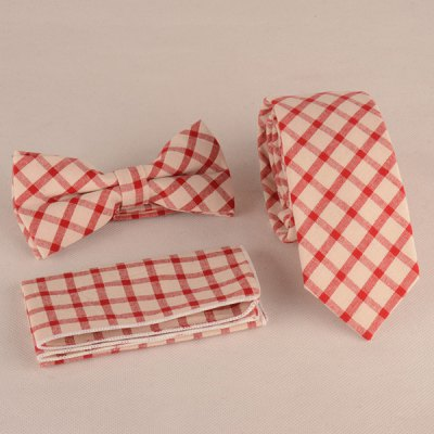 Gingham Print Tie Pocket Square and Bow Tie