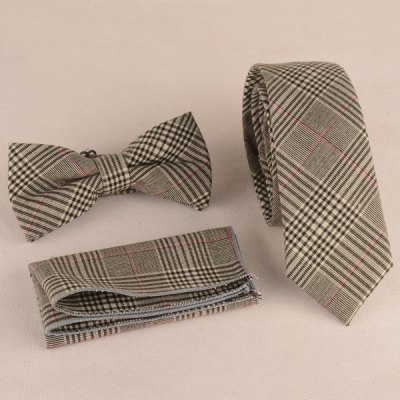 Plaid Print Tie Pocket Square and Bow Tie