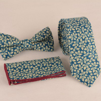 Leaf Print Tie Pocket Square and Bow Tie