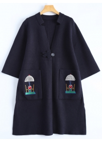 Plus Size Embroidered Coat with Pockets