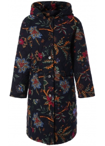 Hooded Floral Print Plus Size Coat