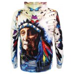Indian Printed Drawstring Pullover Hoodie deal