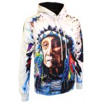 cheap Indian Printed Drawstring Pullover Hoodie