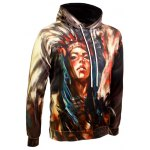 cheap Drawstring Eyelet Pocket Front Indian Print Hoodie