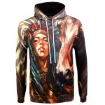 Drawstring Eyelet Pocket Front Indian Print Hoodie