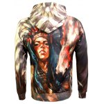 Drawstring Eyelet Pocket Front Indian Print Hoodie deal