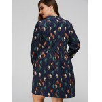 best Plus Size Bird Corduroy Dress with Button