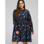 cheap Plus Size Bird Corduroy Dress with Button