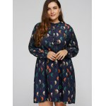 Plus Size Bird Corduroy Dress with Button deal