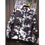 cheap Zipper-Up Pocket Stand Collar Camouflage Jacket