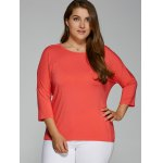 cheap Plus Size Batwing Sleeve High Low T-Shirt