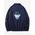 cheap Turn-Down Collar Pockets Design Embroidered Graphic Print Jacket