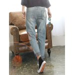 Loose Ripped Skull Patched Jeans for sale