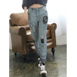 cheap Loose Ripped Skull Patched Jeans