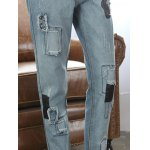 best Loose Ripped Skull Patched Jeans