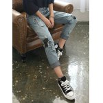 Loose Ripped Skull Patched Jeans deal