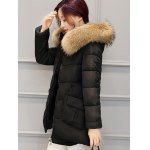 cheap Pocket Padded Coat with Furry Hood