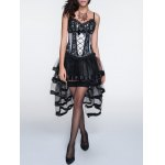 cheap Cami Laciness Corset + Fringed Asymmetrical Skirt Twinset