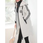cheap Striped Slim Long Quilted Coat