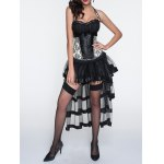 cheap Halter Printed Corset + Fringed Asymmetrical Skirt Twinset