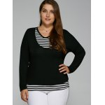 Plus Size Striped Overlay Long Sleeve T-Shirt