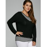 V Neck Plus Size Striped Overlay Long Sleeve T-Shirt deal