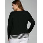 V Neck Plus Size Striped Overlay Long Sleeve T-Shirt for sale