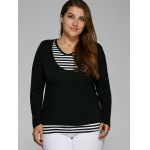 cheap V Neck Plus Size Striped Overlay Long Sleeve T-Shirt