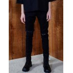 cheap Zipper Fly Frayed Knee Hole Tapered Jeans