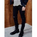 Zipper Fly Frayed Knee Hole Tapered Jeans deal
