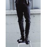 Zipper Fly Frayed Knee Hole Tapered Jeans