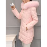 cheap Asymmetrical Hooded Padded Coat