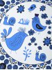 Handpainted Birds Snails Flowers Print Round Blanket Throw deal