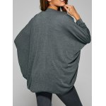Collarless Batwing Sleeve Asymmetric Cardigan for sale