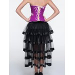 Applique Zippered Corset + Fringed Tiered Skirt Twinset for sale