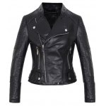 Embossed Cropped PU Leather Jacket for sale