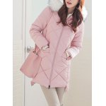 cheap High Low Hooded Quilted Coat