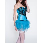 cheap Applique Lace-Up Corset + Tiered Skirt Twinset