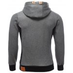 cheap PU-Leather Splicing Color Block Hoodie