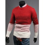 cheap Contrast Color Striped Crew Neck Texture Sweater