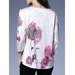 Printed Pleated Hem Plus Size Blouse deal
