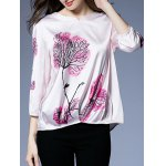 cheap Printed Pleated Hem Plus Size Blouse