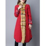 Faux Fur Chinese Button Padded Coat