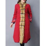 cheap Faux Fur Chinese Button Padded Coat