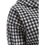 Hooded Button-Down Plaid Blouse deal