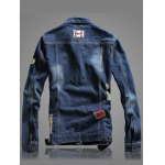 cheap Letter Number Embroidery Distressed Denim Jacket